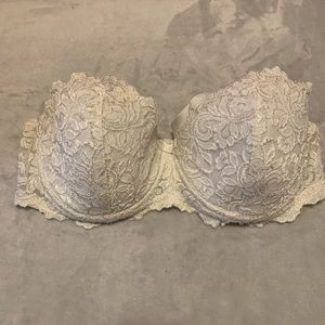 Strapless Bra with White Lace